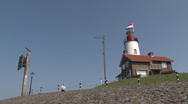 Lighthouse on quay of Urk Stock Footage