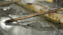 Close-up of Japanese Water Fountain Ladle Stock Footage