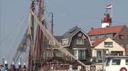 Quay of Urk, harbor with fishing boats Stock Footage