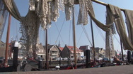 Stock Video Footage of Quay of Urk, harbor with fishnets