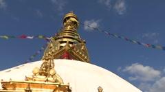 Nepal: Swayambhunath Stupa and Prayer Wheels Stock Footage