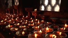 Nepal: Candles in the Temple Stock Footage