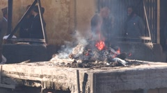 Nepal: Cremation CU Stock Footage