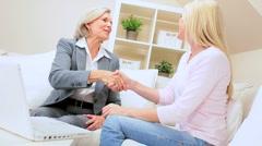 Handshake Between Financial Advisor & Female Client - stock footage