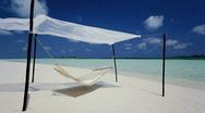 Swaying Hammock Over Paradise Beach Stock Footage