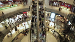 People on an escalator in a mall 4k Stock Footage