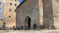 Italy Umbria Spello gate Stock Footage