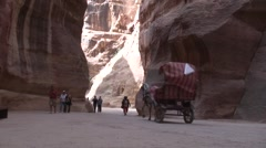 Tourists walk in Siq, Petra Stock Footage
