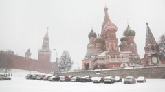 Moscow Kremlin's Spasskaya Tower and Saint Basil's Cathedral Stock Footage
