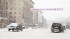 Cars on snowy Sadovoe Ring Stock Footage