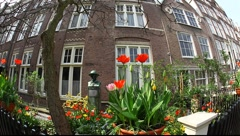 The Begijnhof, one of the oldest inner courts in the city of Amsterdam, Holland Stock Footage
