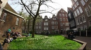 Stock Video Footage of The Begijnhof, one of the oldest inner courts in the city of Amsterdam, Holland