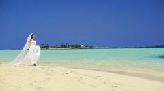 Happy Bride on Paradise Island Stock Footage
