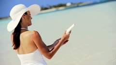Slim Brunette Female Using Sun Protection Cream Stock Footage