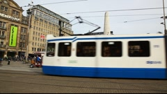 Tram in Dam square, amsterdam, Holland Stock Footage