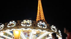 Eiffel Tower, Paris, night, roundabout - stock footage
