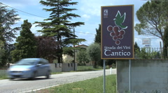 Italy Umbria Cantico wine road sign Stock Footage