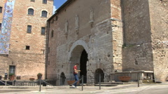 Italy Umbria wall in Spello good - stock footage