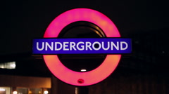 Illuminated London Underground Sign (Close) Stock Footage