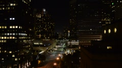 Downtown Los Angeles at night - stock footage