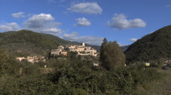 Italy town on hill Arrone Stock Footage