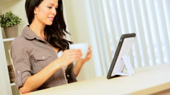 Brunette Girl with Wireless Tablet & Coffee Stock Footage
