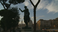 Caesar statue next to Ancient city Stock Footage
