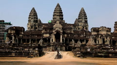 Stock Video Footage of Angkor Wat Temple, Cambodia, civilization, heritage, historic, monument ruin