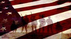 Patriotic Soldiers in Front of US Flag - 1920x1080 - stock footage