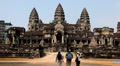 People visit Angkor Wat Temple, Cambodia, The World's Largest Religious Building Footage