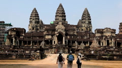 People visit Angkor Wat Temple, Cambodia, The World's Largest Religious Building Stock Footage