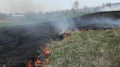 Dangerous Fire In Dry Agriculture Field, Climate Disaster, Hot Summer, No Rain - stock footage