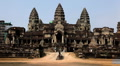 Angkor Wat Temple, Cambodia, Buddhist Building, archeology, art, bas-reliefs Footage
