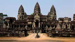 Angkor Wat Temple, Cambodia, Buddhist Building, archeology, art, bas-reliefs Stock Footage