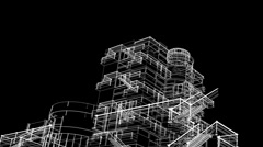 Building sketch grow Stock Footage