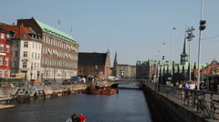 Sailing on a canal in central Copenhagen Stock Footage