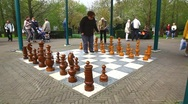 Playing Chess in the open air Stock Footage