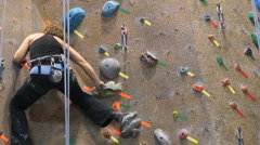 Rock Wall woman black Stock Footage