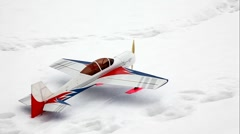 Toy model airplane start flying at sky Stock Footage