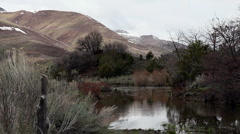 A light breeze ripples small mountain pond mountains, trees and sagebrush. Stock Footage