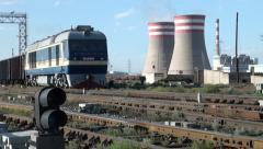 China coal fired powerplant energy transport railways industry industrial Stock Footage
