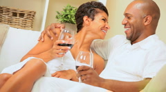 Loving Couple at Home Drinking Wine Stock Footage