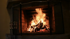 Big flame fire in home fireplace - stock footage