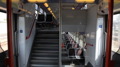Empty railcar first floor reflection Stock Footage