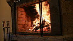 Hot fire in home fireplace Stock Footage