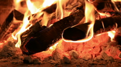 Hot red coals and burned woods Stock Footage