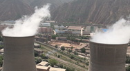 Stock Video Footage of Two coal fired power stations in Lanzhou, a major city in Central China
