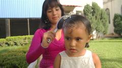 Brushing Girls Hair (HD) Stock Footage