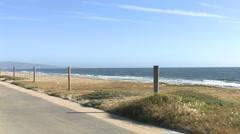 Beautiful California Beach Wide Shot with Bike Path 2 - stock footage