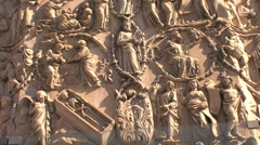 Orvieto cathedral carving biblical Stock Footage